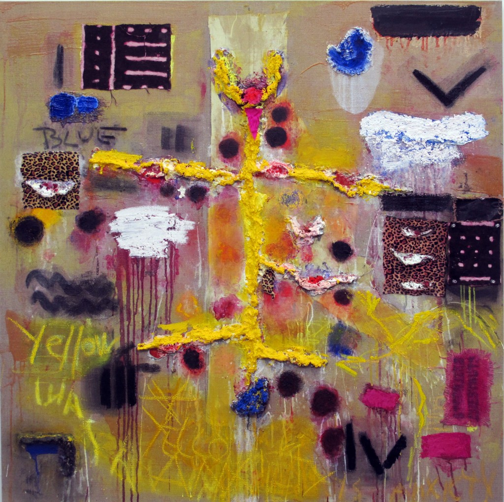 "Joan Snyder, ""Yellow Was Blue"", oil, acrylic, paper mache, cloth, rosebuds, pastel, 48"" x 48"", 2013."