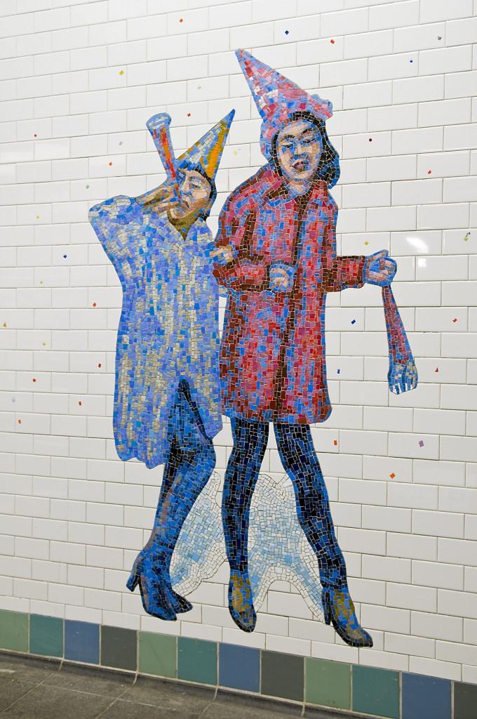 "Jane DIckson ""Revlers"" mosaics Times Square subway 2008 Thierry Gourjon photog."