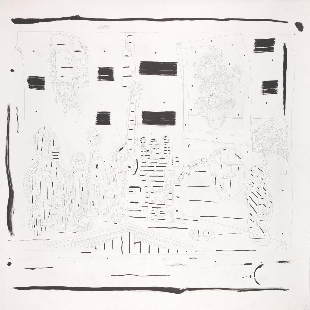 Braque's Studio, Graphite and ink on paper, 140 x 140 cm, 2014