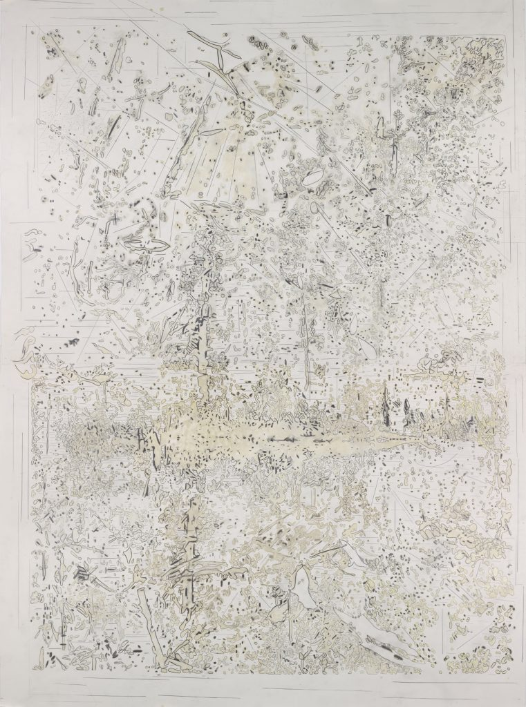 Natural Production 2, Graphite and encaustic on paper, 258x 190cm, 2014
