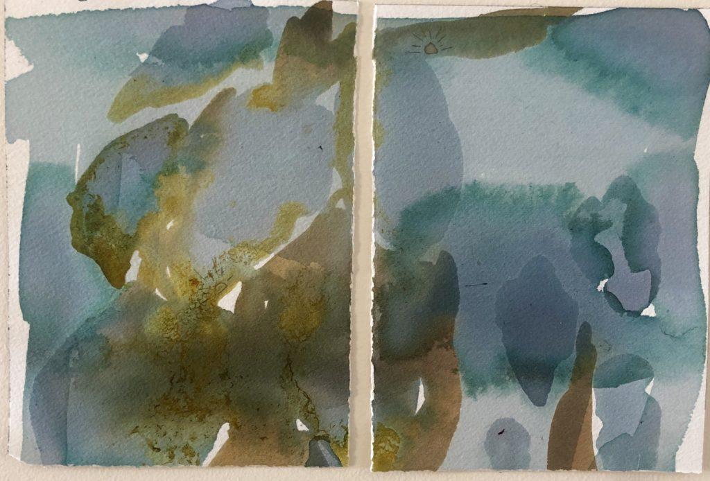 KESS InHouse Stephanie Vaeth Geometric Teal Coral Wall Tapestry 68 x 80